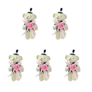 GOGO 4 Inch Stuffed Plush Bear Pink Groom Bear, Pack Of 5, Valentine's Gift Idea