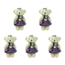 GOGO 4 Inch Stuffed Plush Bear Purple Bride Bear, Pack Of 5, Valentine's Gift Idea