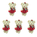 GOGO 4 Inch Stuffed Plush Bear Red Bride Bear, Pack Of 5, Valentine's Gift Idea