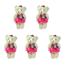 GOGO 4 Inch Stuffed Plush Bear Rose Red Bride Bear, Pack Of 5, Valentine's Gift Idea