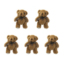 GOGO 5 Inch Stuffed Plush Teddy Bear, Coffee, Pack Of 5, Valentine's Gift Idea