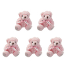 GOGO 5 Inch Stuffed Plush Teddy Bear, Pink, Pack Of 5, Valentine's Gift Idea