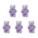 GOGO 5 Inch Stuffed Plush Teddy Bear, Purple, Pack Of 5, Valentine's Gift Idea