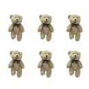 GOGO 3 Inch Stuffed Plush Wedding Teddy Bear, Brown, Pack Of 6, Valentine's Gift Idea