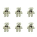 GOGO 3 Inch Stuffed Plush Teddy Bear, White, Pack Of 6, Valentine's Gift Idea