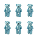 GOGO 4 Inch Stuffed Plush Teddy Bear with Bow, Blue, Pack Of 6, Valentine's Gift Idea