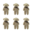 GOGO 4 Inch Stuffed Plush Teddy Bear with Bow, Brown, Pack Of 6, Valentine's Gift Idea