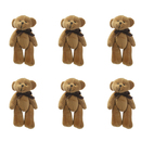 GOGO 4 Inch Stuffed Plush Teddy Bear with Bow, Coffee, Pack Of 6, Valentine's Gift Idea