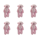 GOGO 4 Inch Stuffed Plush Teddy Bear with Bow, Pink, Pack Of 6, Valentine's Gift Idea