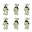 GOGO 4 Inch Stuffed Plush Teddy Bear with Bow, White, Pack Of 6, Valentine's Gift Idea