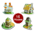 Sunday's Toy Mini 3D Puzzle - House Set Design, Set of 16 Houses, Gifts For Kids