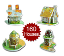 Sunday's Toy (Price per 10 Sets) Mini 3D Puzzle - Set of 160 Houses, Gifts for Kids
