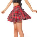 TopTie Pleated Plaid Mini Skirt, High Waist Skater Skirt