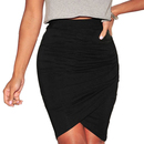 TopTie Wrap Skirt with Asymmetrical Hem and Pleated Front