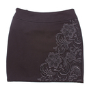 TopTie Women's Embroidery Fitted Black Mini Pencil Skirt