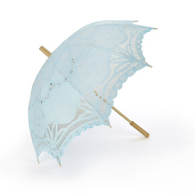 TOPTIE Lace Umbrella, Wedding Light Blue Battenburg Parasol, Christmas Gift