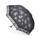 TopTie Black Umbrella With Rose Lace Trim, Folding Parasol