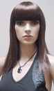 AMKO Displays T11 Brunette Wig, Straight Hair With Bangs