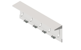 ASI 1308-4 Shelf With Utility Hooks And Mop Strip (5 Hooks, 4 Holders) 44""