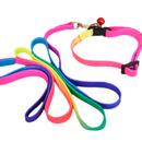 GOGO Dog Leash And Collar Set, Colorful Nylon Leashes And Adjustable Collars