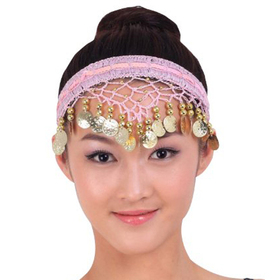 BellyLady Egyptian Belly Dancing Gold Coins Headwear, Pink