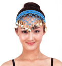 BellyLady Egyptian Belly Dancing Gold Coins Headwear, Blue