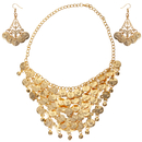 BellyLady Belly Dancing Gypsy Jewelry - Gold Coin Necklace and earrings, 3pc Set