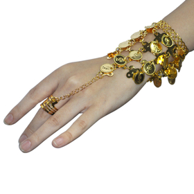 BellyLady Belly Dance Triangle Slave Bracelet With Gold Coins, Gypsy Jewelry