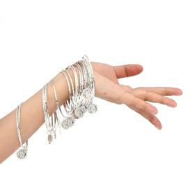 BellyLady Mutiple Metal Gypsy Belly Dancing Jewelry, Silver Coins Bracelet