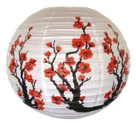 "Red Cherry Flowers White Color Chinese / Japanese Paper Lanterns, 16"" Diameter (Wholesale Lot), Christmas Gift 2012, Price/10 pcs"