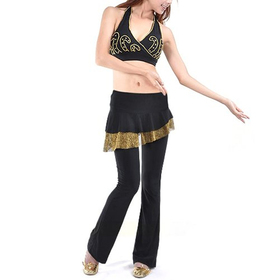 BellyLady Practice Belly Dance Costume, Embroidery Halter Bra Top & Pants