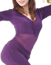 BellyLady Practice Belly Dance Unitard-Body Costume, Purple Stretchy Short Sleeve Top And Dancing Pants Set, Size: S