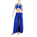 BellyLady Practice Egyptian Belly Dance Costume, Belly Dancing Outfits, Tribal Blue Halter Top And Pants