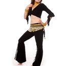 BellyLady Practice Egyptian Belly Dance Costume, Black Belly Dancing Wrap Top, Gold Coin Hip Scarf And Pants Set, Size: S