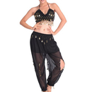 BellyLady Practice Belly Dancing Costume, Black Chiffon Halter Top With paillette, Hip Scarf And Lotus Leaf Pants Set, Size: S