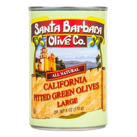 Santa Barbara Green Ripe Olives, Pitted, Medium - 6 ozs.