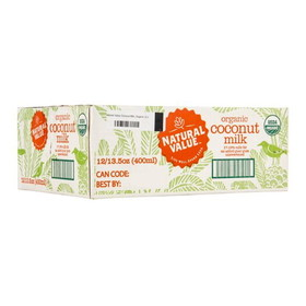 Natural Value Coconut Milk, Organic - 12 x 13.5 ozs