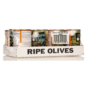 Natural Value Black Olives, Pitted,Natural - 12 x 6 ozs.