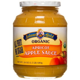 Solana Gold Organics Organic Apricot Apple Sauce in Glass - 24 ozs.