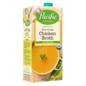 Pacific Foods Chicken Broth, Low Sodium, Organic - 32 ozs.