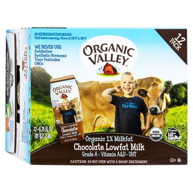 Organic Valley Chocolate Milk, Single Serve, Shelf Stable, Organic - 12 x 8 ozs.