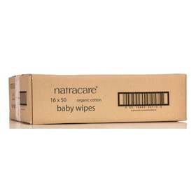 Natracare Baby Wipes, Cotton, Organic - 16 x 50 ct.