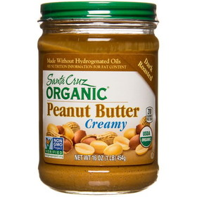 Santa Cruz Peanut Butter, Dark Roasted, Creamy, Organic - 16 ozs.