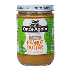 Once Again Nut Butter, Inc. Peanut Butter Smooth, No Salt, Organic - 16 ozs.