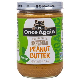 Once Again Nut Butter. Organic Peanut Butter,Crunchy, No Salt - 16 ozs.