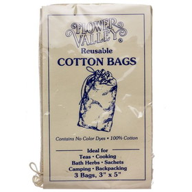 Flower Valley Reusable Cotton Bags, NF074, Price/3 bags