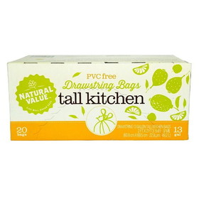 Natural Value Tall Kitchen Bags Drawstring, NF176, Price/20 ct