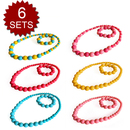 TopTie Beads Jewelry Set For Child, Kid's Jewelry Necklace & Bracelet, 6 Sets