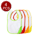 TopTie 4 Pack Snap Bibs For Kids, Dribble Bibs With Waterproof Backing