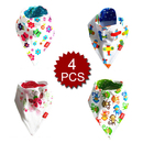 TopTie Baby Bandana Bibs 4-Pack Cartoon Themed Cotton Bibs